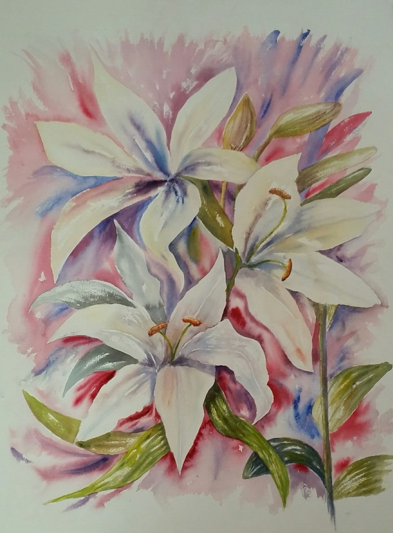 (CreativeWork) 'White Lilies' by Susan Capan. watercolour. Shop online at Bluethumb.