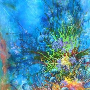 (CreativeWork) Underwater Delights by Colleen Clark. mixed-media. Shop online at Bluethumb.