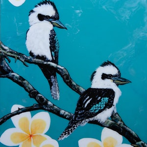 (CreativeWork) Kookaburra Friends by Melinda Williams. mixed-media. Shop online at Bluethumb.