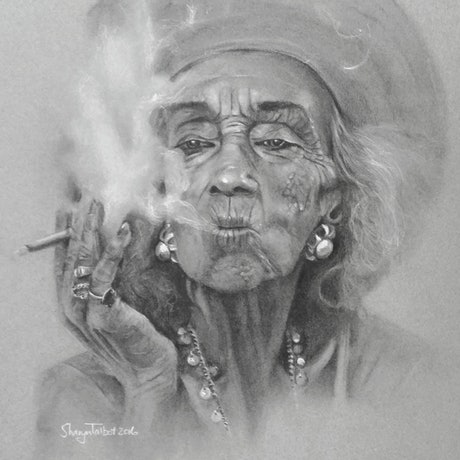 (CreativeWork) Smoke and pearls by Sharyn Talbot. Drawings. Shop online at Bluethumb.