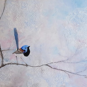 (CreativeWork) Blue wren perched in Winter Wonderland  by Trudie Diserens. arcylic-painting. Shop online at Bluethumb.