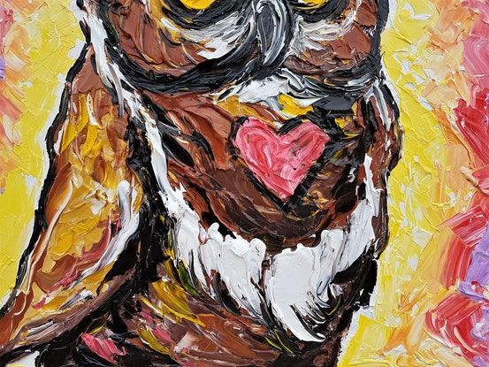 (CreativeWork) A Wise Old Owl Once Said All You Need Is Love! by Lisa Fahey. Mixed Media. Shop online at Bluethumb.