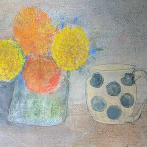 (CreativeWork) Marigolds and spotted mug by Jennavive Johnson. drawing. Shop online at Bluethumb.