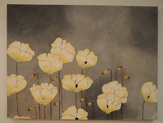(CreativeWork) Yellow poppies by Deb Krinas. Acrylic Paint. Shop online at Bluethumb.