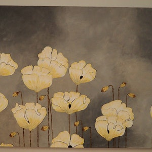 (CreativeWork) Yellow poppies by Deb Krinas. arcylic-painting. Shop online at Bluethumb.