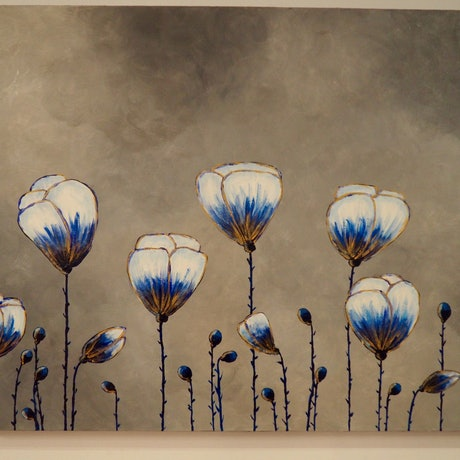 (CreativeWork) Blue poppies by Deb Krinas. Acrylic Paint. Shop online at Bluethumb.