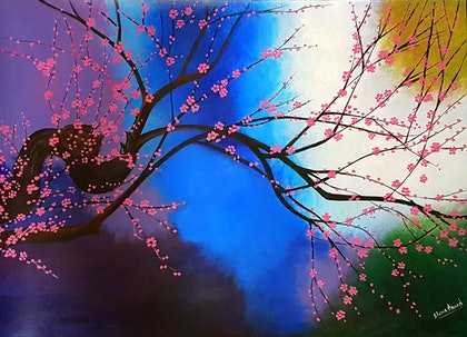 (CreativeWork) Abstract Nature by Shoma Anand. arcylic-painting. Shop online at Bluethumb.