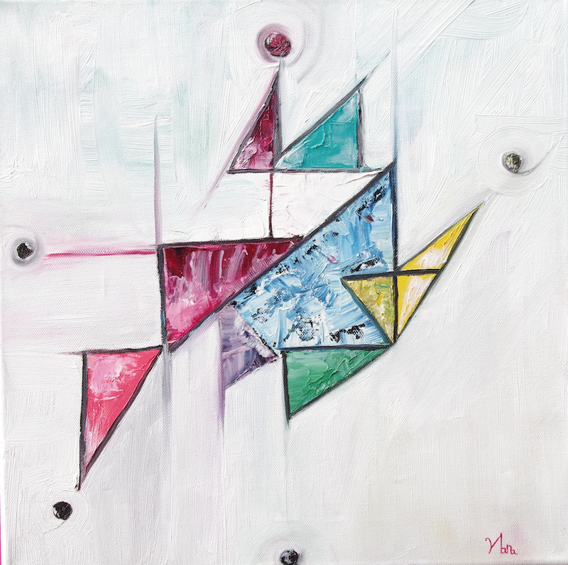 (CreativeWork)  Doodling triangles by Hannah Kuo. oil-painting. Shop online at Bluethumb.