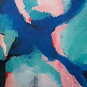 (CreativeWork) Falling into blue 2  by Sarah Simpson. arcylic-painting. Shop online at Bluethumb.