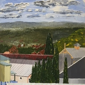 (CreativeWork) Gulgong Flour Mill by Peter Malcolm. arcylic-painting. Shop online at Bluethumb.