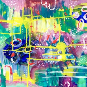 (CreativeWork) The Tropics by Paddy Colahan. arcylic-painting. Shop online at Bluethumb.
