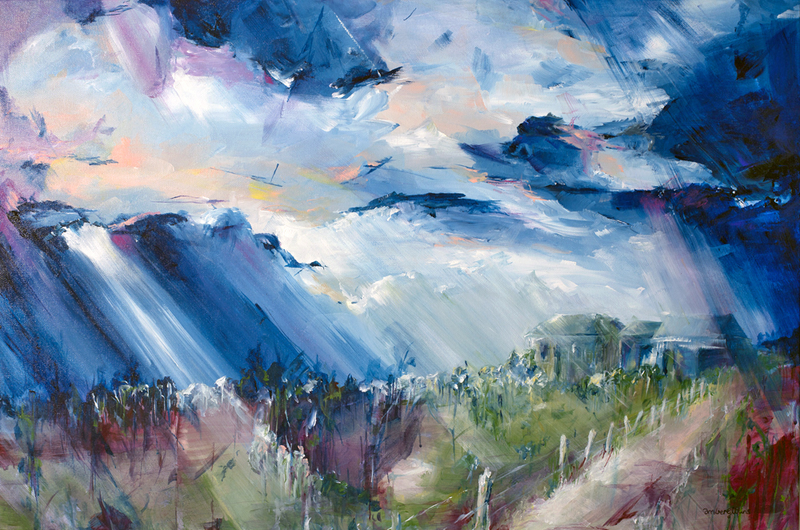 (CreativeWork) Outback Storm by Amber Gittins. arcylic-painting. Shop online at Bluethumb.