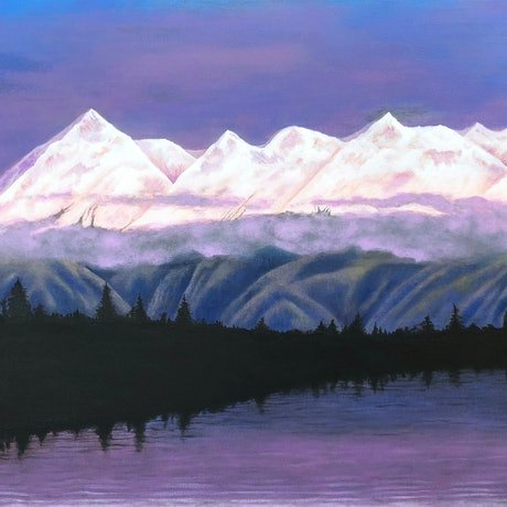 (CreativeWork) Dusk in Alaska by Andrea Marriette. Acrylic Paint. Shop online at Bluethumb.