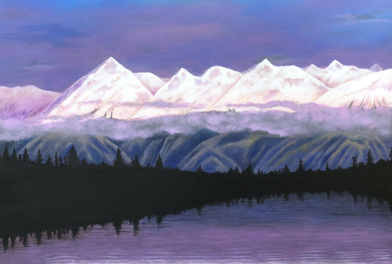 (CreativeWork) Dusk in Alaska by Andrea Marriette. arcylic-painting. Shop online at Bluethumb.