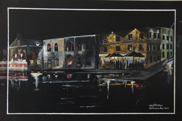 (CreativeWork) Salamanca After Work by Christopher Johnston. Acrylic Paint. Shop online at Bluethumb.