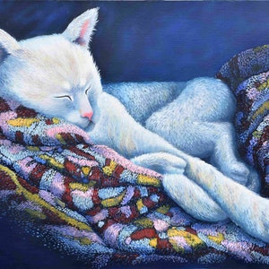 (CreativeWork) CAT NAP by Janette Hafez. oil-painting. Shop online at Bluethumb.