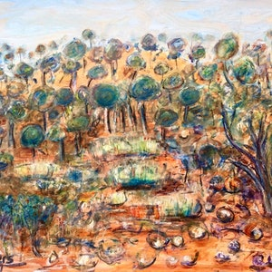 (CreativeWork) Spinifex Near Winton, Western Queensland by Meg Vivers. mixed-media. Shop online at Bluethumb.