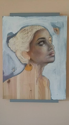 (CreativeWork) Shelf Portrait (Woman with the balloon earring ) by Janin Mayer. Mixed Media. Shop online at Bluethumb.
