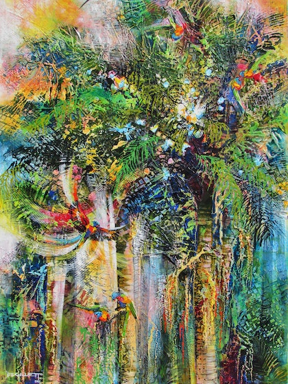 (CreativeWork) Tropical palms by De Gillett. mixed-media. Shop online at Bluethumb.