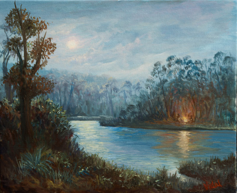 (CreativeWork) Oil on canvas - Camp fire by the lake by Christopher Vidal. oil-painting. Shop online at Bluethumb.