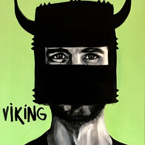 (CreativeWork) Viking. But Not by Jac Clark. arcylic-painting. Shop online at Bluethumb.