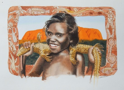 (CreativeWork) Child of the Red Centre by Lance Ross. watercolour. Shop online at Bluethumb.