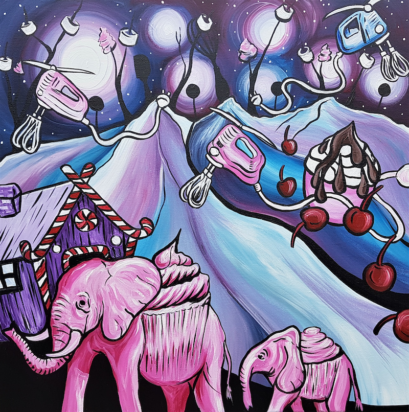 (CreativeWork) Elephant Candy Land  by Lisa Fahey. arcylic-painting. Shop online at Bluethumb.