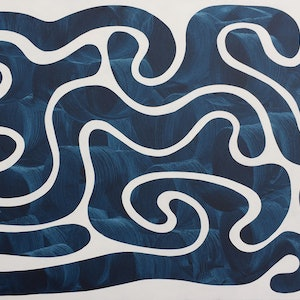 (CreativeWork) Blue Rivers by Derek Mollison. arcylic-painting. Shop online at Bluethumb.