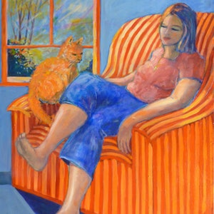 (CreativeWork) The girl in Blue Jeans with Ginger Cat  by Virginia McGowan. oil-painting. Shop online at Bluethumb.