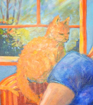 (CreativeWork) The girl in Blue Jeans with Ginger Cat  by Virginia McGowan. Oil Paint. Shop online at Bluethumb.