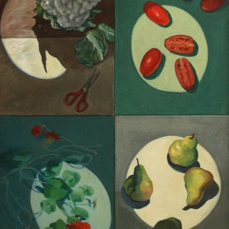 (CreativeWork) Four Seasons by Lesley Shelley. Oil Paint. Shop online at Bluethumb.