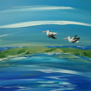 (CreativeWork) Pelican Flyby by Karen McKenzie. arcylic-painting. Shop online at Bluethumb.