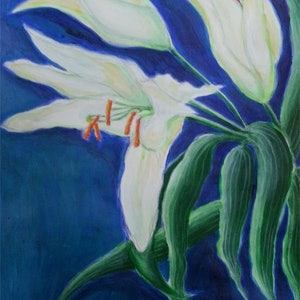 (CreativeWork) Birthday Lilies by Natalie Cartwright. arcylic-painting. Shop online at Bluethumb.