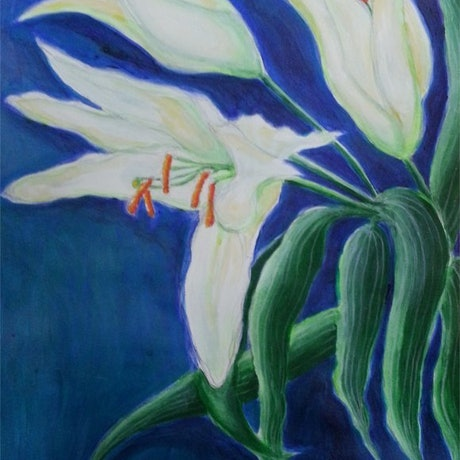(CreativeWork) Birthday Lilies by Natalie Cartwright. Acrylic Paint. Shop online at Bluethumb.