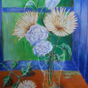 (CreativeWork) Chrysanthemums 1 by Natalie Cartwright. arcylic-painting. Shop online at Bluethumb.