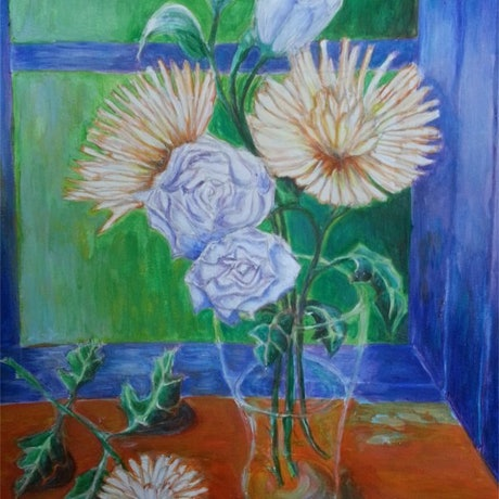 (CreativeWork) Chrysanthemums 1 by Natalie Cartwright. Acrylic Paint. Shop online at Bluethumb.