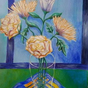 (CreativeWork) Chrysanthemums 2 by Natalie Cartwright. arcylic-painting. Shop online at Bluethumb.