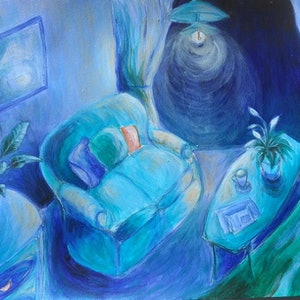 (CreativeWork) Blue interior by Natalie Cartwright. arcylic-painting. Shop online at Bluethumb.