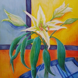 (CreativeWork) Lily still life by Natalie Cartwright. arcylic-painting. Shop online at Bluethumb.