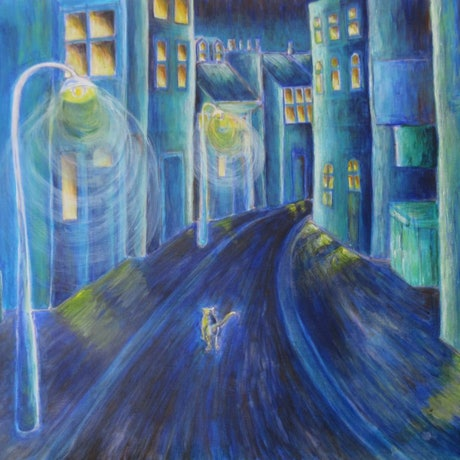 (CreativeWork) I am the cat who walks by himself by Natalie Cartwright. Acrylic Paint. Shop online at Bluethumb.