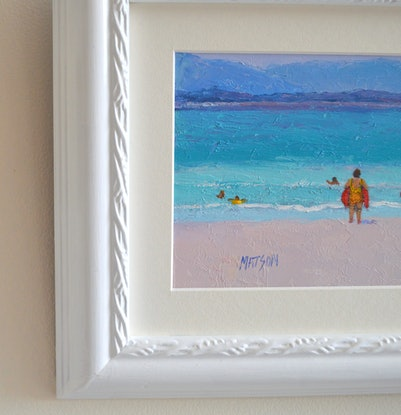 (CreativeWork) The Surfers of Byron Bay by Jan Matson. Oil Paint. Shop online at Bluethumb.