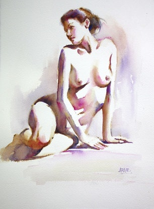 (CreativeWork) Figure Study in Watercolour by Pauline Adair. Watercolour Paint. Shop online at Bluethumb.