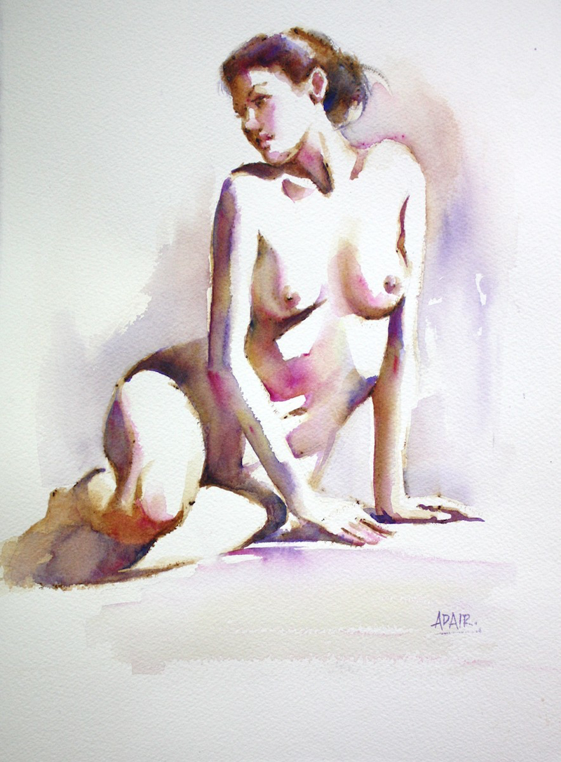 (CreativeWork) Figure Study in Watercolour by Pauline Adair. watercolour. Shop online at Bluethumb.