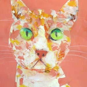 (CreativeWork) Cat portrait in orange  by John Graham. mixed-media. Shop online at Bluethumb.