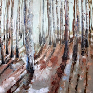 (CreativeWork) THE PINE FOREST WHERE WE FIND MUSHROOMS by Maureen Finck. watercolour. Shop online at Bluethumb.