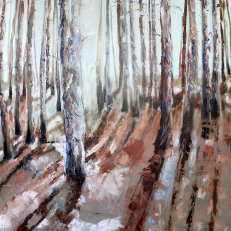 (CreativeWork) THE PINE FOREST WHERE THE MUSHROOMS GROW by Maureen Finck. Oil Paint. Shop online at Bluethumb.