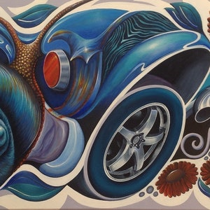 "(CreativeWork) Subconscious Musings of a Very Young Snail by Karen ""WiZ"" SMITH. arcylic-painting. Shop online at Bluethumb."