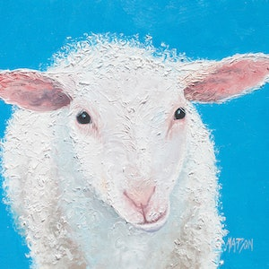 (CreativeWork) Ollie the Sheep by Jan Matson. oil-painting. Shop online at Bluethumb.