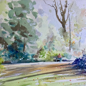 (CreativeWork) Quiet Refuge  , Royal Botanic Gardens , Melbourne  by Geoff Stanistreet. watercolour. Shop online at Bluethumb.