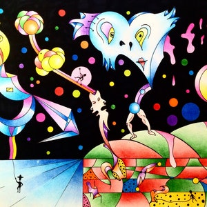 (CreativeWork) Disco fever  by Paddy Duggan. drawing. Shop online at Bluethumb.
